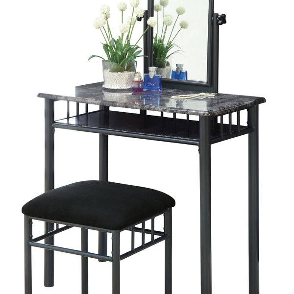 Monarch 2-Piece Modern Marble-Look Top Bronze Metal Frame Vanity Makeup Table Set with Padded Bench Seat and Mirror - Grey Finish | Aosom