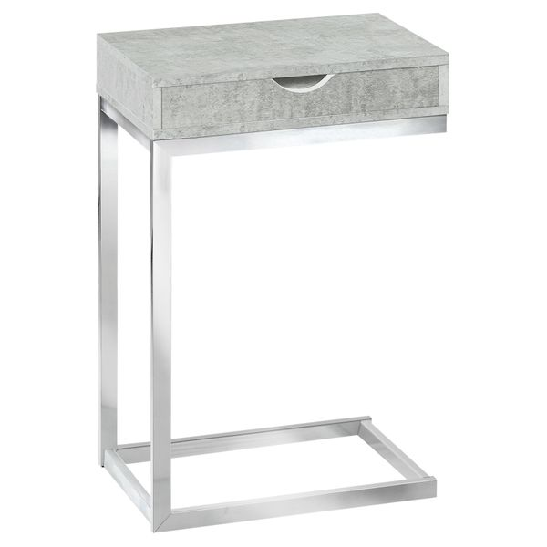 """Monarch 25"""" Contemporary Polished Chrome Metal Frame C-Shaped Side Accent Table with Storage Drawer - Grey Cement-Look Finish 