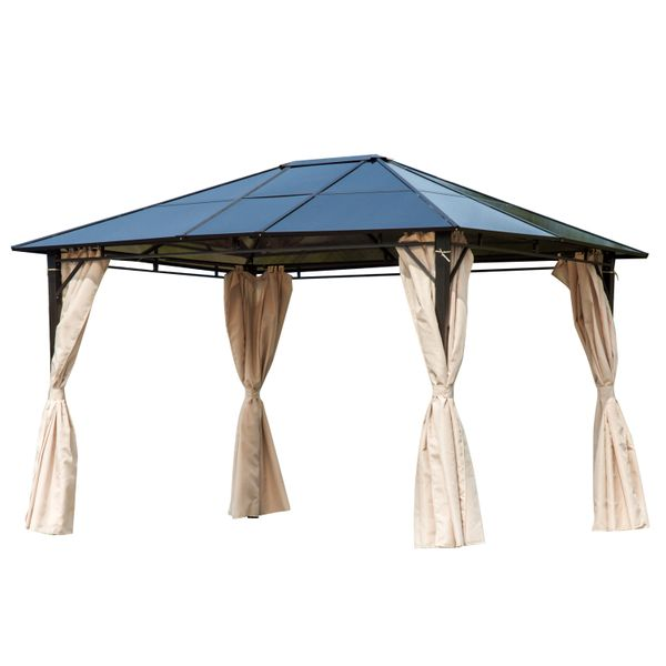 Outsunny 10' x 12' Outdoor Steel Hardtop Patio Canopy Gazebo Party Tent Cover Durable Lawn Gazebo Tent with Removable Curtains - Dark Brown   Aosom