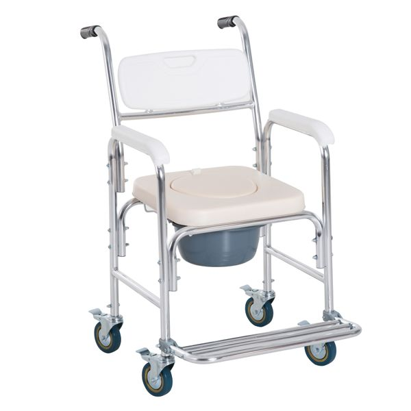 HOMCOM Personal Mobility Assist Waterproof Commode Shower Transport Medical Rolling Chair / mobility medical rolling chair | Aosom
