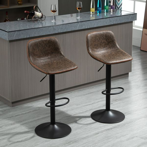 Homcom Tall Bar Stools Retro Industrial Set Of 2 Adjustable Height Bar Chairs For Kitchen,Counter,And Home Bar,Brown Kitchen & Area   Aosom