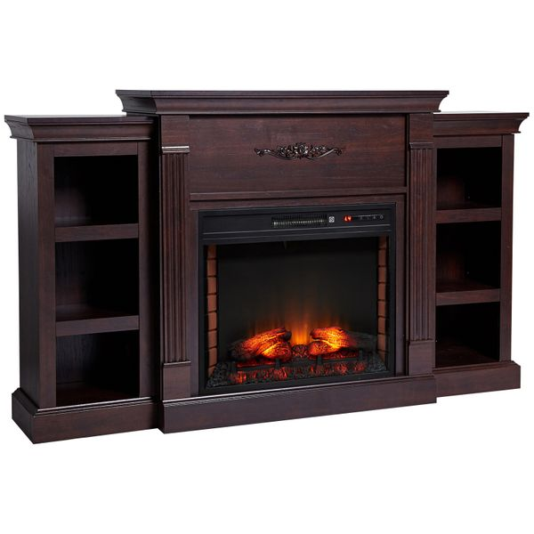 HOMCOM Electric Freestanding Fireplace 1400W Artificial Flame Effect with Detachable Side Cabinets  Dark Brown  Wood|AOSOM.COM