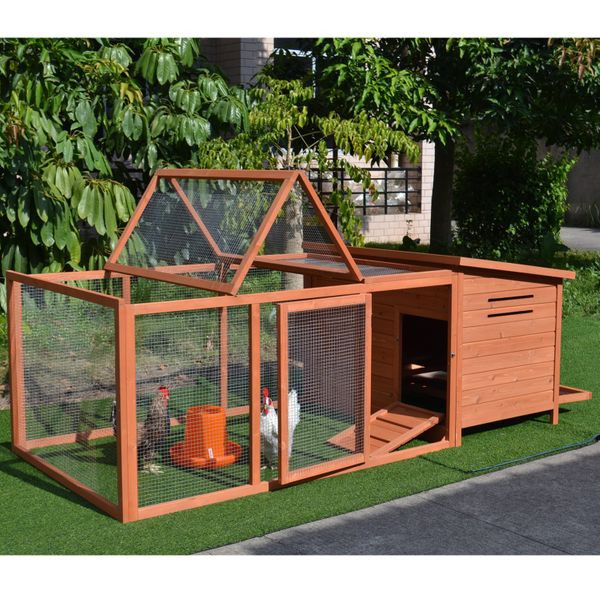 """Pawhut 87"""" Deluxe Wooden Chicken Coop w/ Outdoor Run / with Backyard Run, 86.6"""" Wood Poultry Compact backyard chicken coop 