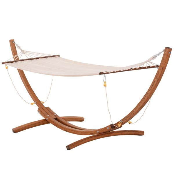 Outsunny Bentwood Fabric Hammock Bed with Stand Relax on the Porch or Deck with a Stylish & Weather-Defiant Design for Relaxing Porch/Deck   Aosom