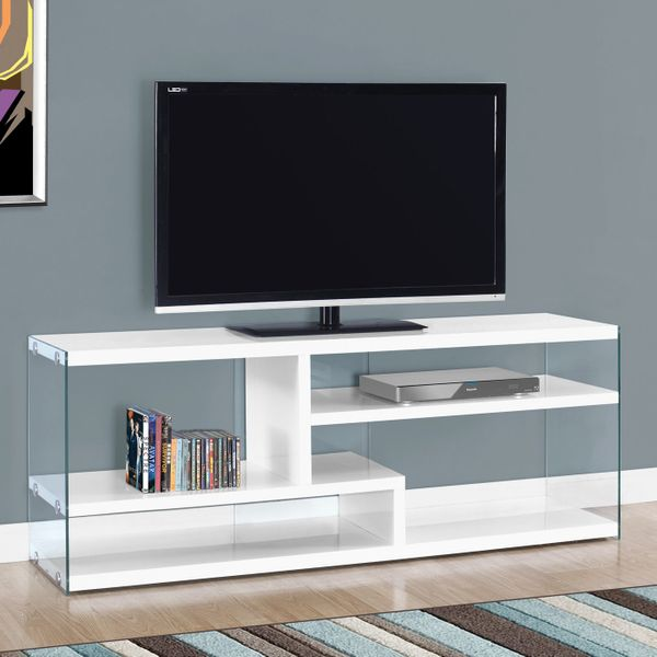 """Monarch 60"""" Contemporary Thick Panel Shelves Tempered Glass Sides Console TV Stand - Glossy White Finish 