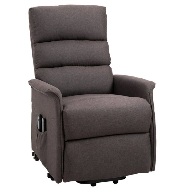 HOMCOM Electric Power Lift Recliner Massage Sofa Vibration with Remote for Elderly Living Room Office Furniture Brown | Aosom