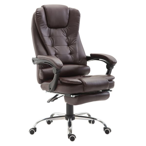 HomCom High Back Reclining Office Chair Swivel Executive Napping PU Seat w/Footrest Bro | Aosom