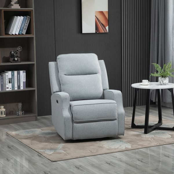HOMCOM Electric Power Recliner Chair/Armchair Sofa with Linen Upholstered Seat  and Retractable Footrest  Blue Reclining Chair Lounger USB Plug-In   Aosom