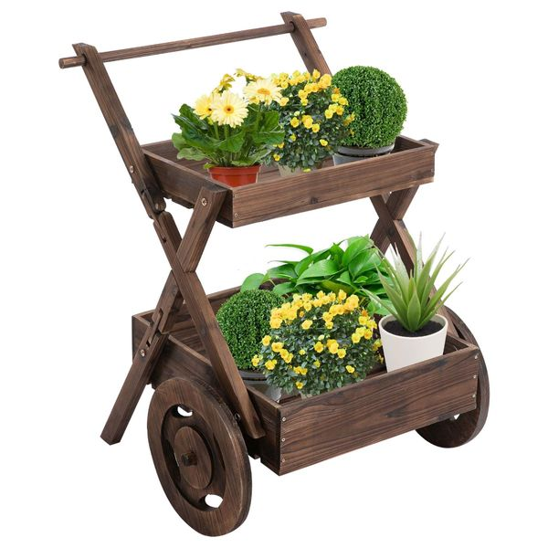 Outsunny Wooden Rustic 2-Level Elevated Garden Plant Bed/Stand with Wheels for Movement & Classic Look/Aesthetic Easy | Aosom
