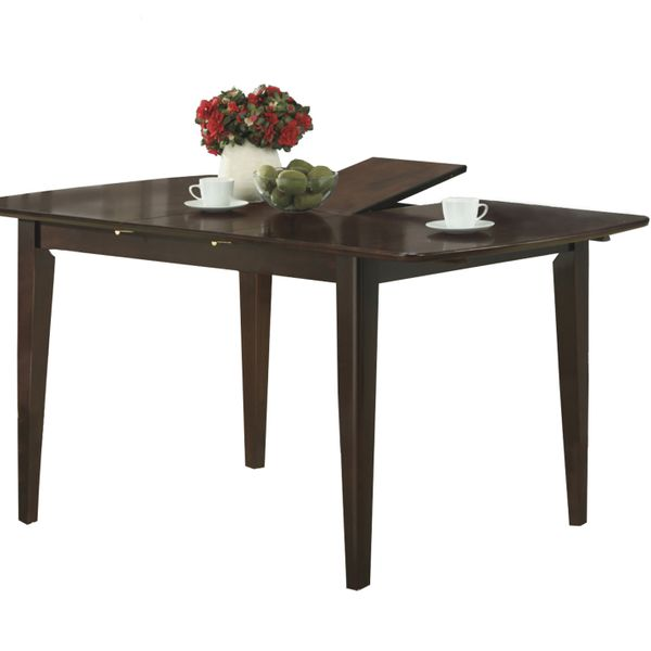 "Monarch 60"" x 36"" Rectangular Wooden Butterfly Leaf Dining Table - Cappuccino Brown Finish 