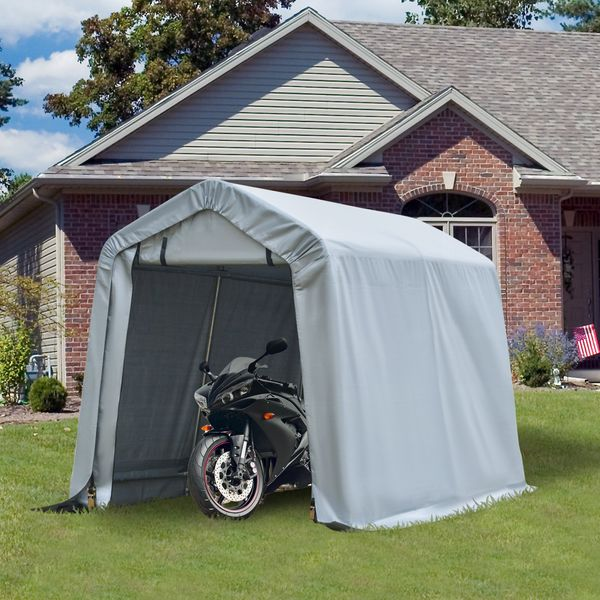 Outsunny 8' x 6' Outdoor Car Tent Carport Canopy Garage Storage Shelter with Roll-up Door, Steel Frame, PE Cover, Grey Door | Aosom