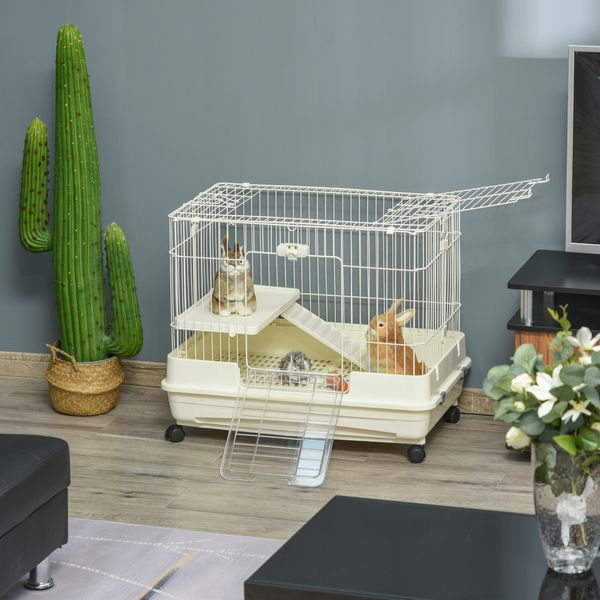 """PawHut Indoor Small Animal Habitat Cage with Wheels  Perfect for Hamsters  Gerbils  and Exotic Rodents  White 32"""" 
