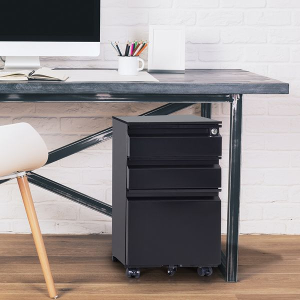 "HOMCOM 24"" Steel 3 Drawer Locking File Cabinet on Wheels - Black