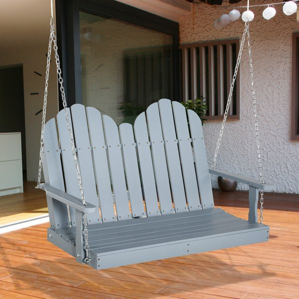 Outsunny 2-Seater Outdoor Patio Swing Bench with Wooden Build, Water-Fighting Protection, & Classic Style, Grey Wood Build Natural | Aosom