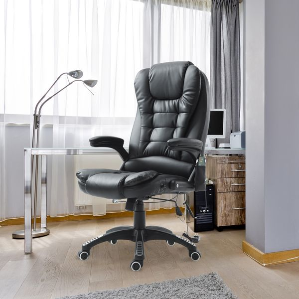 HomCom Heated Vibrating Massage Home Office Chair Black