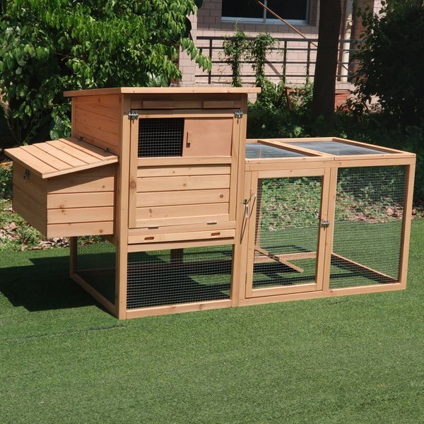 """Pawhut Chicken Coop 75"""" Wooden Hen House Backyard Chicken Coop with Outdoor Run and Nesting Box 