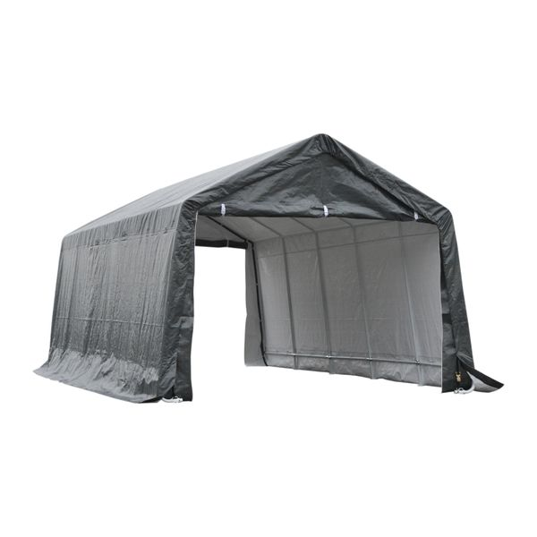 Outsunny 12' x 20' Heavy Duty Caport Canopy Tent for Cars with Zippered Doors, Waterproof Cover and Drainage Holes - Grey | Aosom