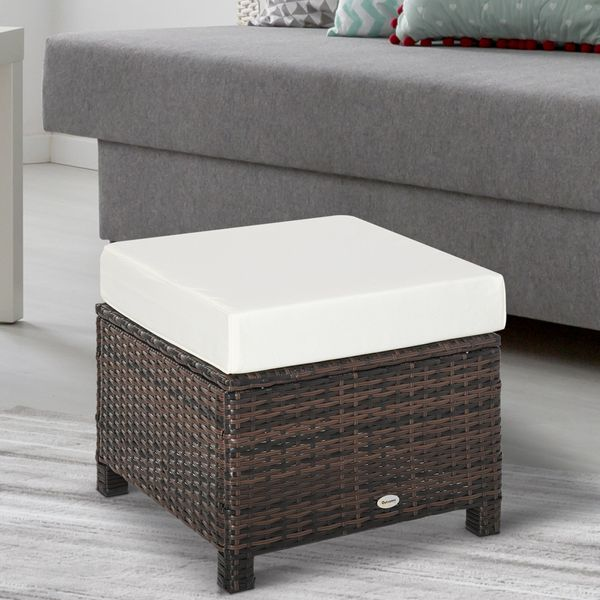 Outsunny Modern Rectangle Rattan Wicker Ottoman Footrest with Removable Cushion and Modern Design for Outdoor/Indoor Use Rectangular PE Hand Woven Brown | Aosom