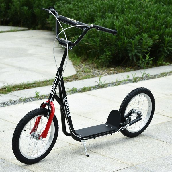 Aosom Soozier/HOMCOM Youth Kids Kick Scooter Adjustable Handlebar Teens Ride On Toy For 5+ w/ Front and Rear Dual Brakes Inflatable Wheels Black Height Tires | Aosom