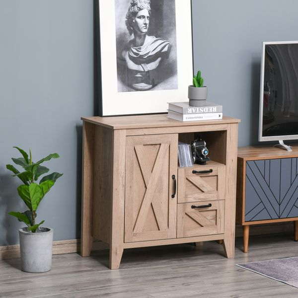 HOMCOM Farmhouse Sideboard Storage Cabinet Serving Buffet Console with Drawers for Entryway, Kitchen, Dining Area, Living Room Entryway | Aosom