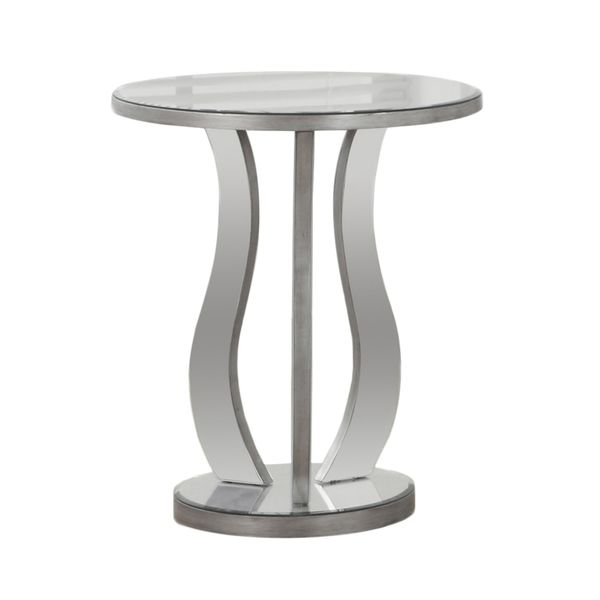 "Monarch 20"" Modern Contemporary Mirrored Round Top Accent End Table - Brushed Silver 