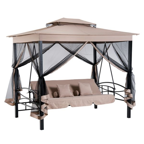 Outsunny 3 Person Outdoor Patio Daybed Canopy Gazebo Swing with Mesh Walls Relaxing Covered Hammock Tent Furniture|aosom.com