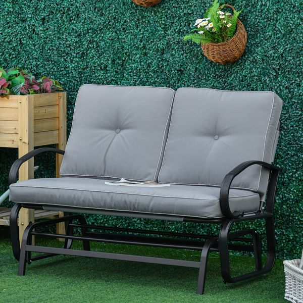 Outsunny Outdoor 2-Person Gliding Chair Patio Glider with Cushions and Armrest for Garden Yard Porch Steel Grey | Aosom