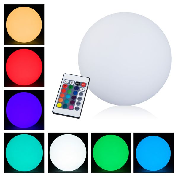 """16"""" 16 Color RGB LED Ball HomCom Adjustable Changing Globe Waterproof Rechargeable With Remote Control /waterproof color changing ball 