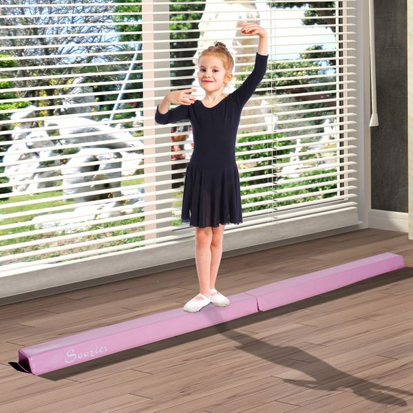 Soozier 8ft Balance Beam Training Athletics Anti-slip - Pink|AOSOM.COM