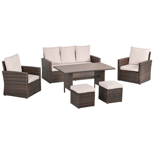 Outsunny 6-Piece Outdoor Dining Set with 3 Chairs, 2 Ottomans, 1 Sofa, & 1 Dining Table, Steel Frame & PE Rattan, Beige 6 PCS Backyard Eating Table w/ Weather-Resistant   Aosom