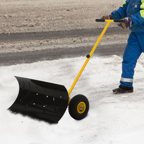 """Outsunny 29"""" Blade Rolling Snow Pusher Shovel with Wheels and Adjustable Handle Yellow Snowplough w/ 10"""" 