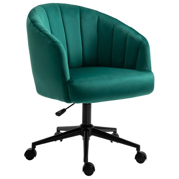 HOMCOM Retro Swivel Chair Fabric Sofa Height Adjustable with Metal Base Leisure Chair on Rolling Wheels for Home Office Cafe Hotel Adjustasble | Aosom