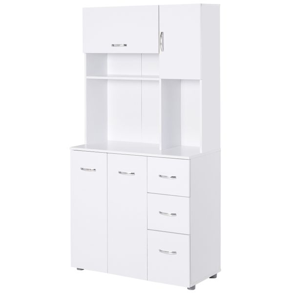 """HOMCOM 66"""" Wood Kitchen Pantry Storage Cabinet Microwave Hutch with 4 Large Cabinets & Sleek Modern Design  White Freestanding w/ Open Countertop Space AOSOM.COM"""