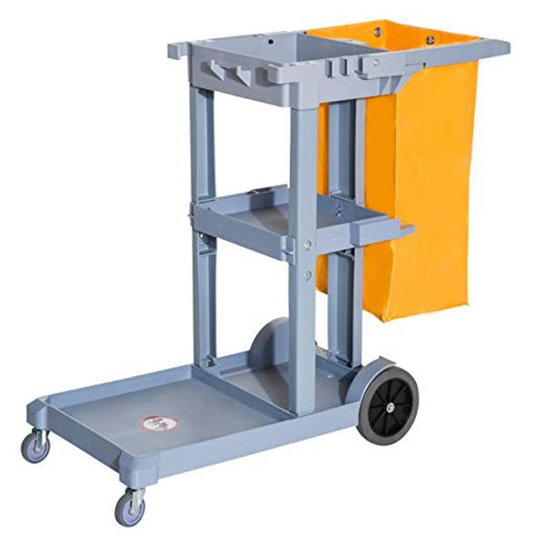 HomCom 3 Shelf Housekeeping Commercial Cleaning Rolling Janitor Cart With 25 Gallon Vinyl Bag / commercial rolling janitor cart | Aosom