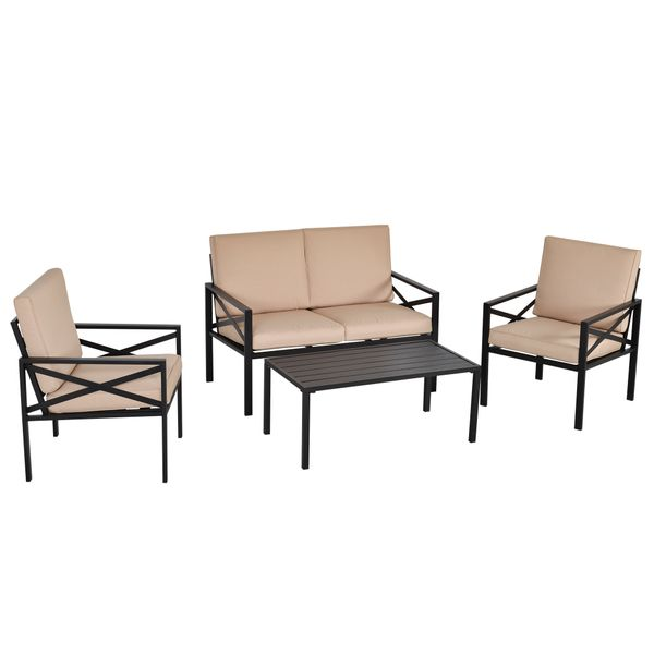 Outsunny 4-Piece Patio Furniture Set Garden Conversation Set with Cushions Steel Beige | Aosom