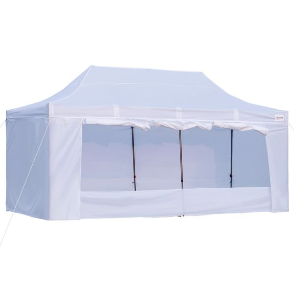 Outsunny 20' x 10' Pop Up Canopy Tent Large Outdoor Shelter with 7 Removable Zippered Sidewalls and Roller Bag - White | Aosom