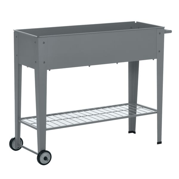 """Outsunny 41"""" x 15"""" x 32"""" Raised Garden Bed with Wheels  Mobile Planter with Bottom Shelf for Plants and Flowers Outdoor Grey   Aosom"""