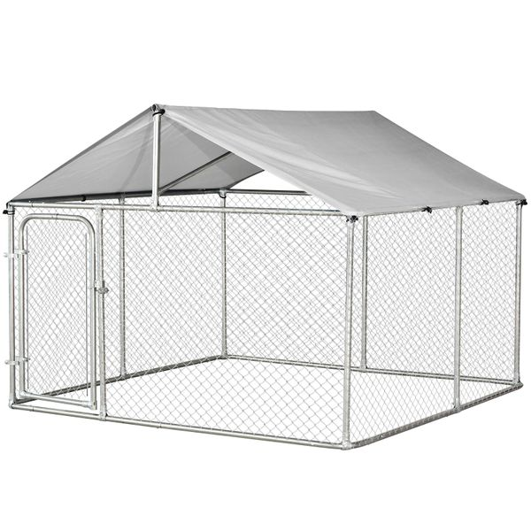 PawHut 7.5'x7.5'x5.6' Large Outdoor Dog Kennel Galvanized Steel Fence with Oxford Cloth Roof and Lock|AOSOM.COM