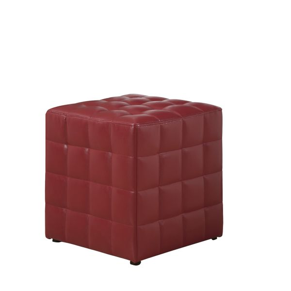 Monarch Leather-Look Cube Ottoman - Red | Aosom