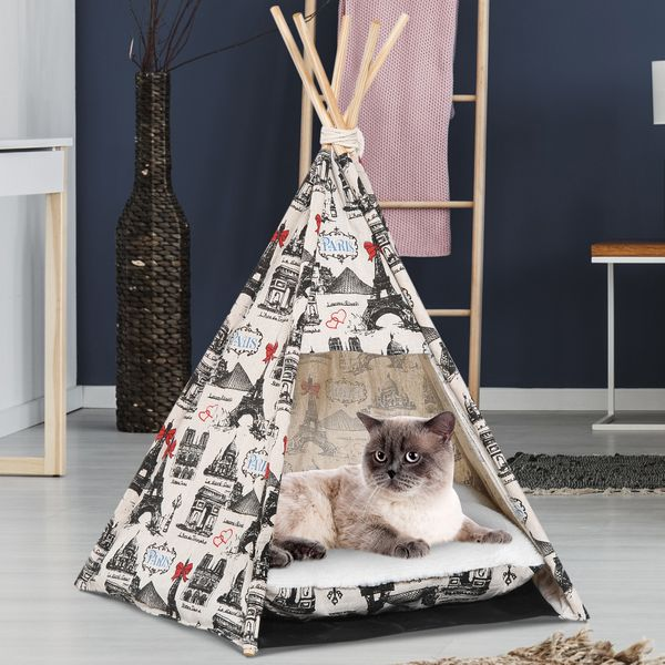 PawHut Small Foldable Teepee Tent Pet Cat Dog Bed Washable with Cushion AOSOM.COM