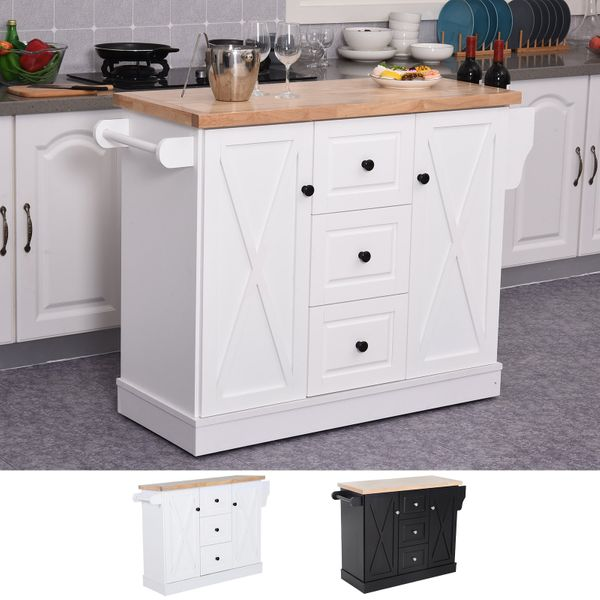 Wooden Mobile Kitchen Island Cart with Drawers and Wheel AOSOM.COM