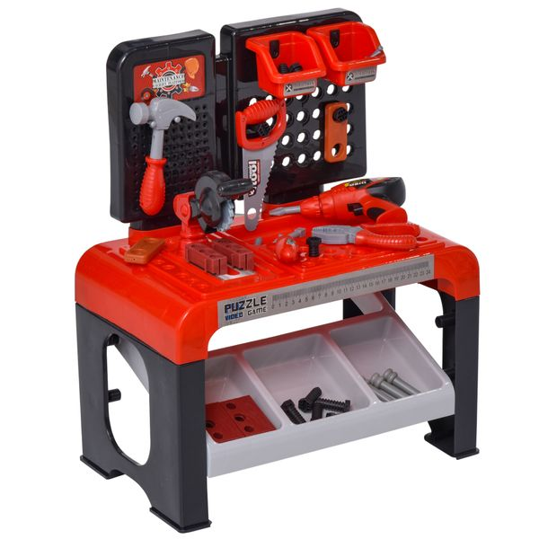 Qaba Workbench Play Toy for Kids of Ages 3+ 46 Realistic Toy Tools and Accessories for Boys Children Worker Pretend Game Construction Collection Red Black 46-Pieces | Aosom