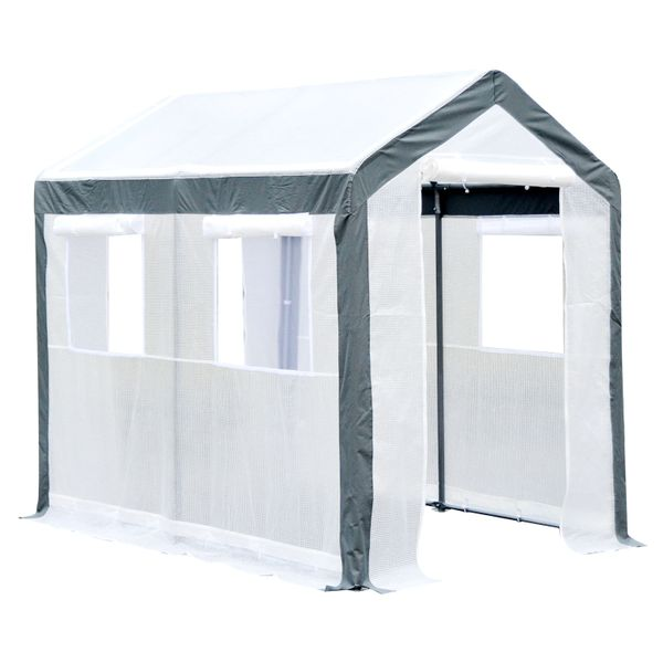Outsunny 8' x 6' 7' Heavy Duty Walk In Greenhouse Large Fully Enclosed Garden Greenhouse with Extra 4 Windows and 2 Zippered Doors / heavy-duty walk-in greenhouse | Aosom