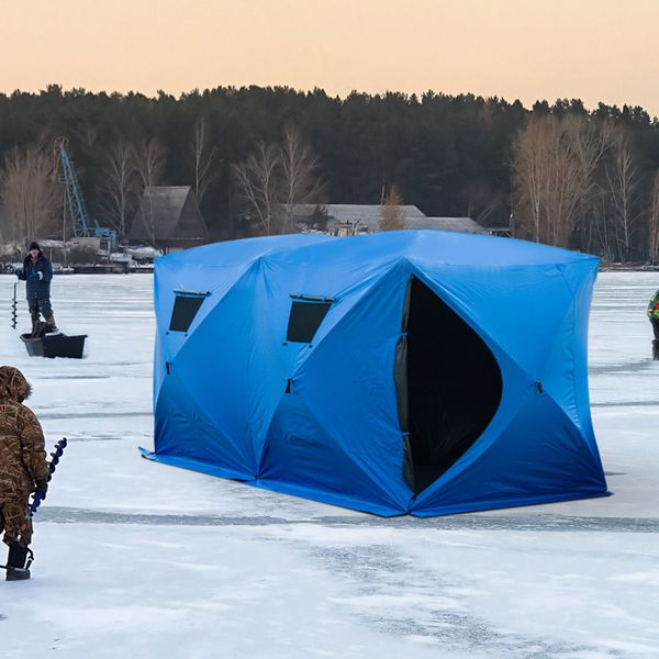Outsunny 5-8 Man Pop up Portable Ice Fishing Shelter Tent House w/2 Doors / 8 Person Pop-Up insulated ice fishing shelter | Aosom