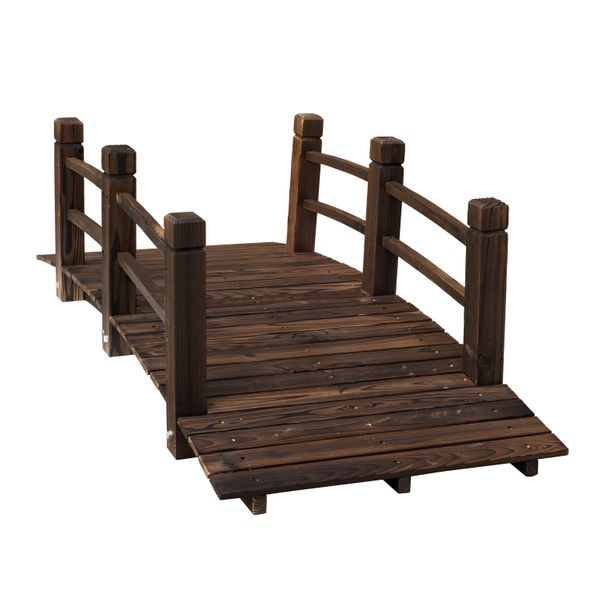 """Outsunny 5"""" Wooden Rustic Arched Decorative Backyard Garden Bridge with Railings - Stained Wood / wooden rustic decorative garden bridge 