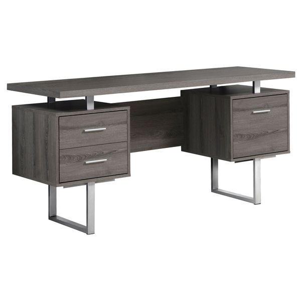 "Monarch 60"" Contemporary Floating Top Hollow-Core Office Desk with 2 Storage Drawers and File Drawer - Dark Taupe / Silver Metal 
