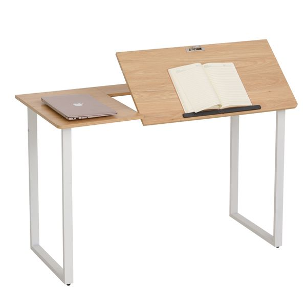 HOMCOM Computer Desk Writing Table with Small Angle Adjustable Tabletop for Drawing Home Office Workstation Oak Wood Grain   Aosom