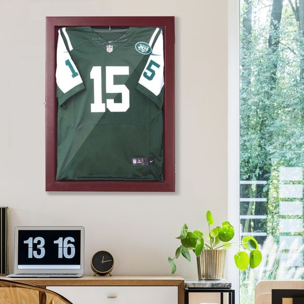 """HomCom 32"""" x 24"""" Wooden Wall Mounted Jersey Memorabilia Shadow Box Display Case with Latch - Cherry Brown 