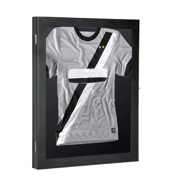 "HomCom 28"" x 35"" Jersey Frame Display Case Shadow Box Football Baseball Basketball Sports Presentation Collection - Black 