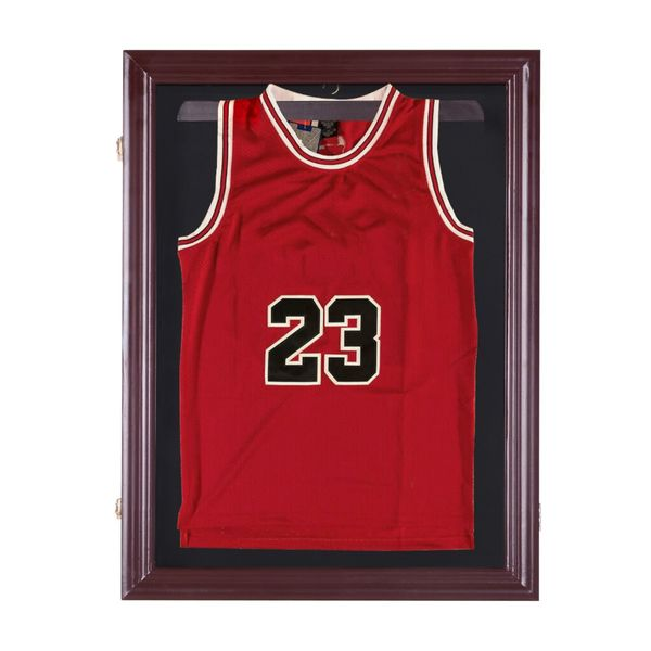 "HOMCOM 32"" x 24"" UV-Resistant Sports Jersey Frame Display Case - Cherry Brown 